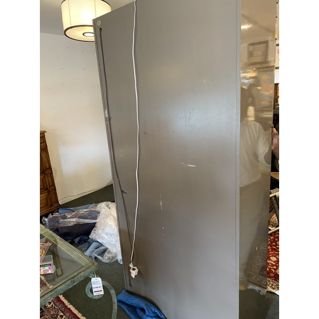 Custom Large Gray Lacquered Lighted Display Cabinet For Sale - Image 11 of 12
