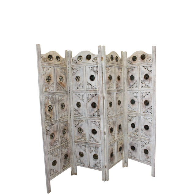 1920s Indian 4-Panel White Wood Screen For Sale