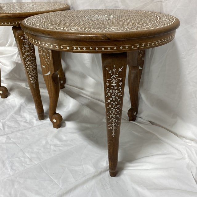 Fantastic pair of Anglo Indian bone inlay side or drink tables. Elephant motif in the legs and decorative geometric...