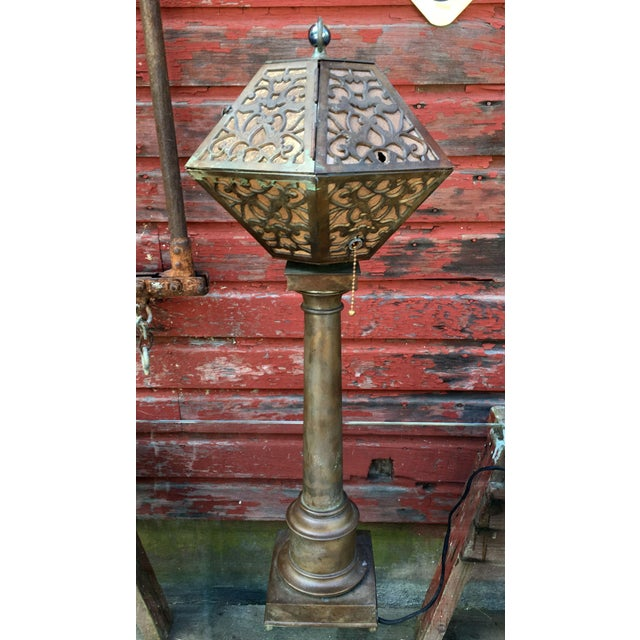 Oscar Bach 1920's American Arts & Crafts Movement Bronze Table Lamp For Sale - Image 4 of 9