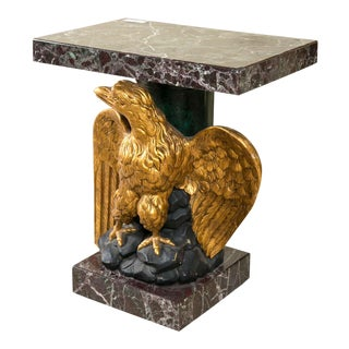 Marble Top Gilt Wood Carved Eagle Pedestal Table For Sale