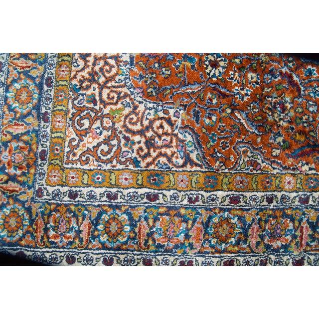 Vintage Silk & Wool Kashmir Prayer Rug-3'x5' For Sale - Image 4 of 9