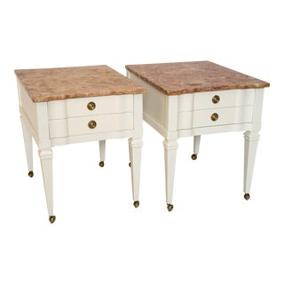 White Lacquered & Pink Marble Top End Tables - Pair