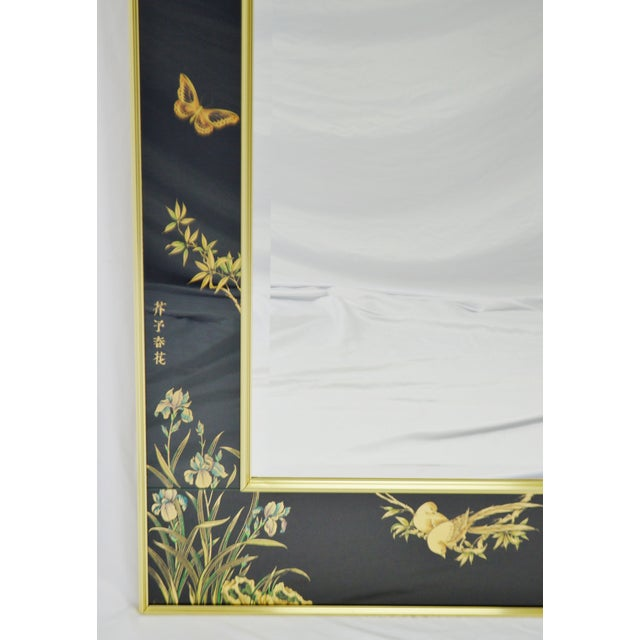 Vintage La Barge Reverse Painted Glass Frame With Beveled Mirror - Artist Signed For Sale In Philadelphia - Image 6 of 13