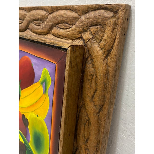 """Haitian Artist Alberoi Bazile """"Fruit"""" Still Life Oil Painting in Hand Carved Frame C.1970 For Sale - Image 10 of 13"""