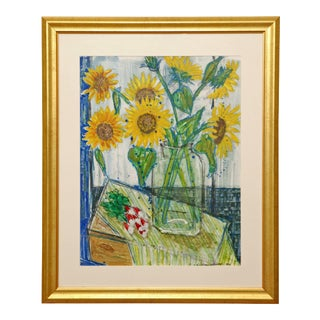 1990s Nicolas Hammel Sunflower French Painting For Sale