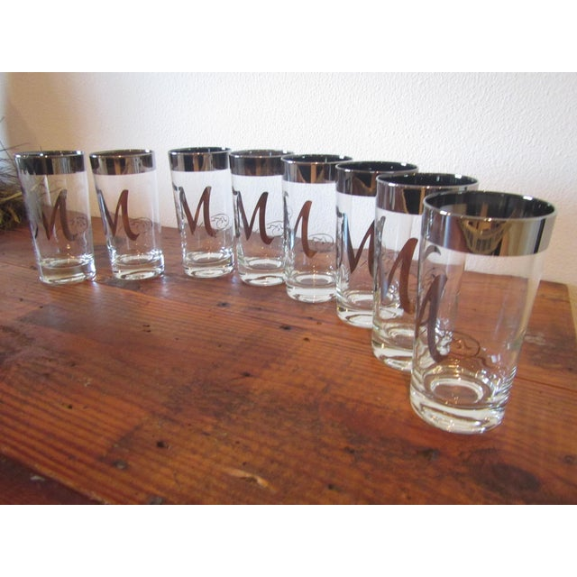 Silver Monogramed 'M' Drinking Glasses - Set of 8 - Image 6 of 7