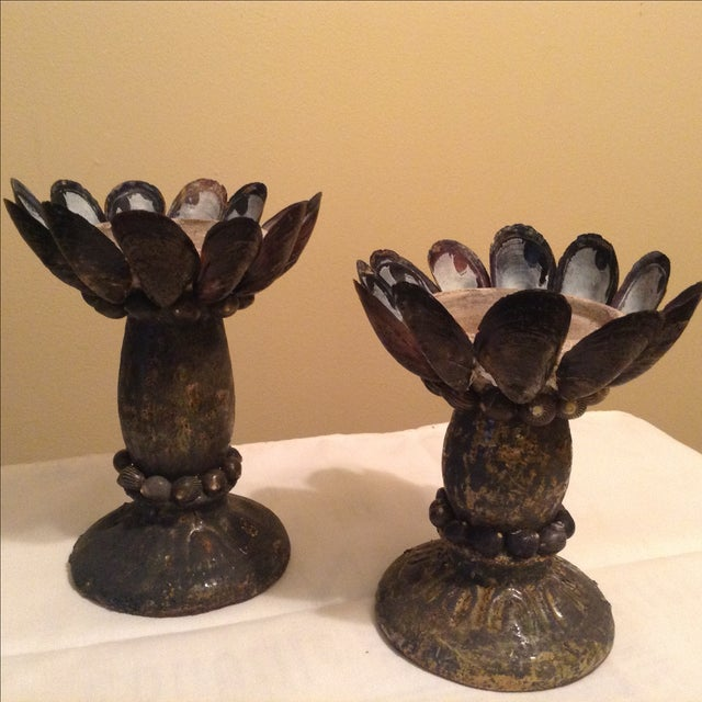 Mussel Shell & Pottery Candleholders - A Pair - Image 7 of 7