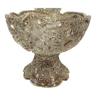 Early 20th Century Antique Cut Glass Punch Bowl For Sale