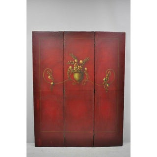 Early 21st Century French Art Nouveau Red Hand Painted 3 Panel Dressing Screen Divider Preview