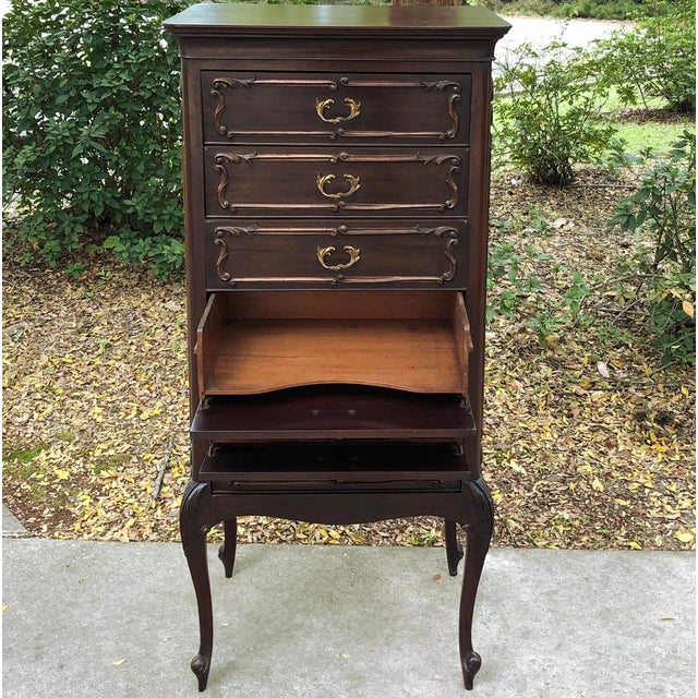 Metal Antique French Walnut Louis XV Chiffoniere ~ File Cabinet For Sale - Image 7 of 13