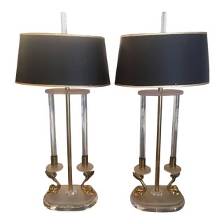 Neoclassical Brass and Lucite Koi Table Lamps - a Pair For Sale