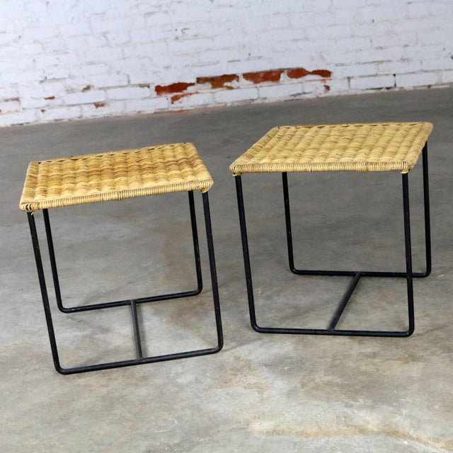 Caif-Asia Style Wrought Iron and Rattan Side Tables - A Pair For Sale - Image 4 of 13