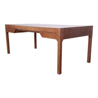 Pierre Paulin for Baker Furniture Art Deco Bird's-Eye Maple Leather Top Executive Desk For Sale