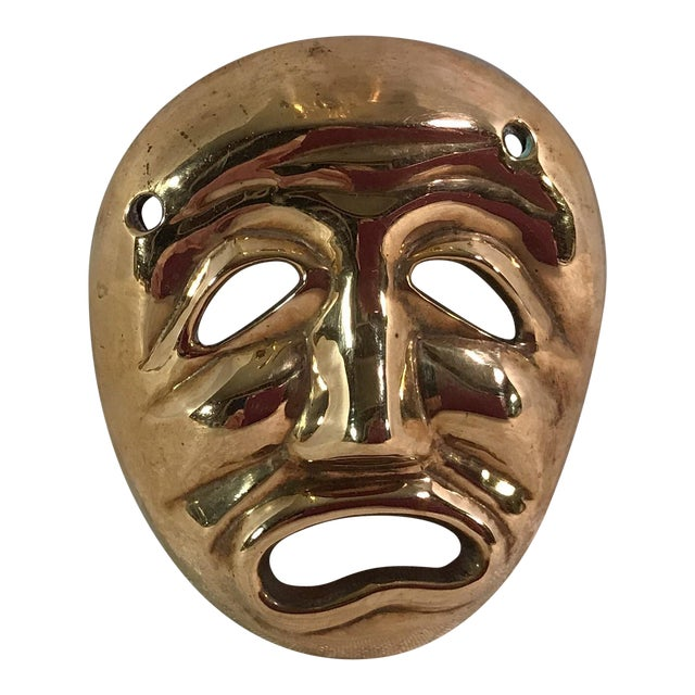 Mid-Century Modern Brass Tragedy Mask - Image 1 of 9