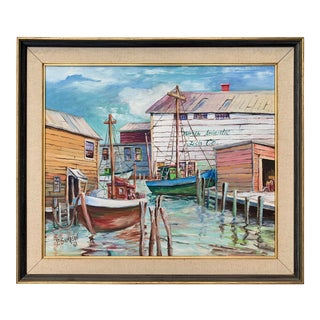 Original Oil Painting of New England Fishing Boats in Harbor 1961 For Sale