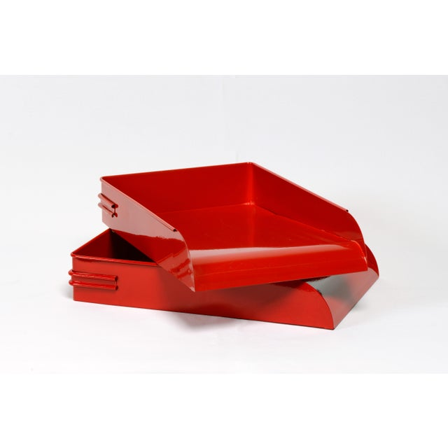 Metal 1930s Steel Letter Tray Refinished in Gloss Red, 2 Available For Sale - Image 7 of 7