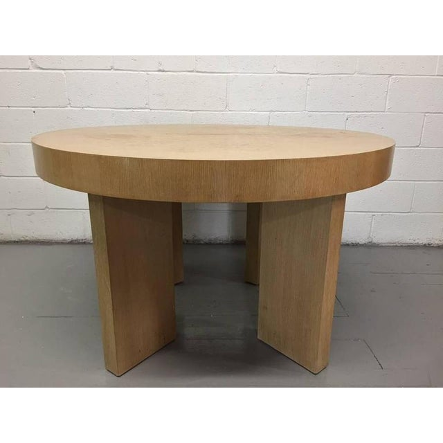 """Cerused oak dining table with two extensions. Measures, without leaves, 51"""" in diameter x 30.5"""" H, with leaves, measures,..."""