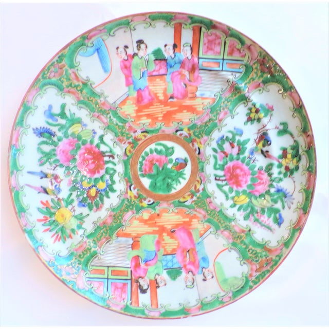 Vintage Rose Famille Medallion Chinoiseries Plate For Sale In Houston - Image 6 of 7