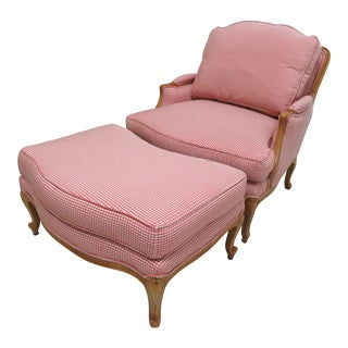 Ethan Allen Legacy Country French Lounge Chair and Ottoman For Sale
