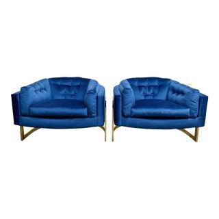 Jules Heumann for Metropolitan Cantilever Brass Lounge Chairs - a Pair For Sale
