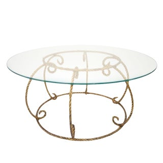 Hollywood Regency Italian Gilt Rope Cocktail Table For Sale