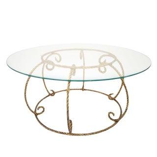 Hollywood Regency Italian Gilt Rope Cocktail Table Base For Sale