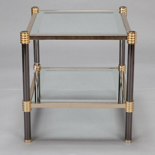 1970s Pair Mid Century Chrome Brass and Glass Side Tables Attributed to Roche Bobois For Sale - Image 5 of 5