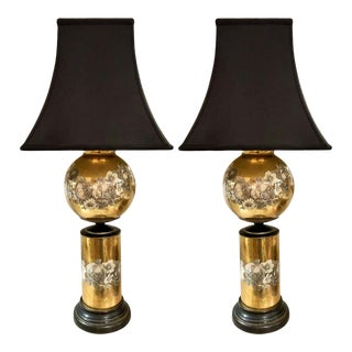 Pair of Églomisé Glass Table Lamps Attributed to Maison Jansen For Sale