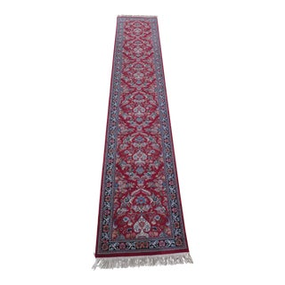 Sarouk Pattern Vintage Wool Runner Rug - 2′6″ × 14′5″