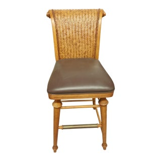 Wicker & Wood Bar Stools- A Pair For Sale