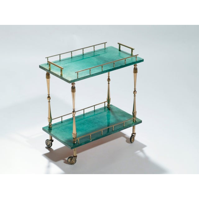 Mid-Century Modern Small Aldo Tura Goatskin Parchment Bar Cart, 1950s For Sale - Image 3 of 10