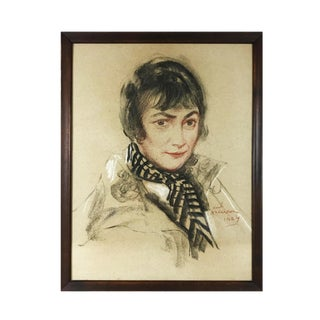 1924 Vintage Karl Anderson Portrait of Young Woman Original Pastel & Charcoal Drawing For Sale