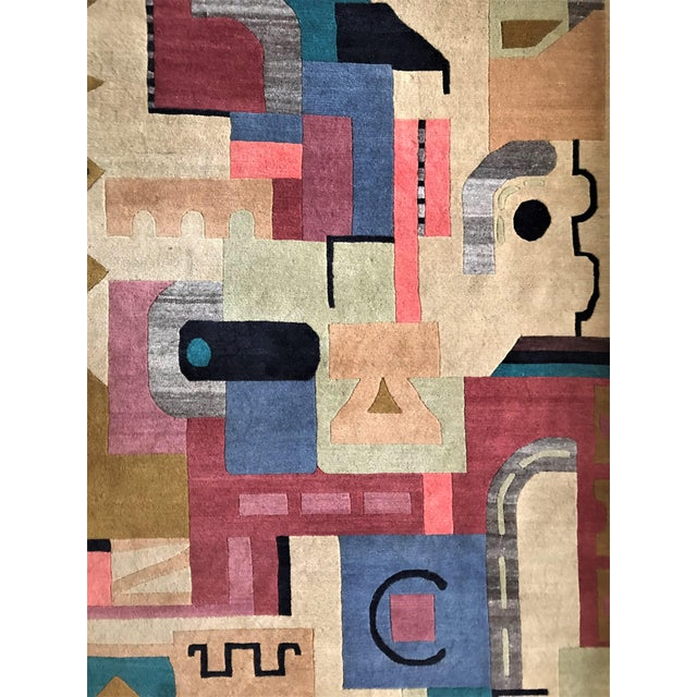 Vibrant Geometric Cut-Pile Wool Rug, C.1970 For Sale - Image 4 of 7