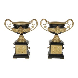 19th Century Napoleon III Ormolu-Mounted Urns - a Pair For Sale