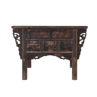 Chinese Vintage 4 Drawers Raw Rustic Brown Side Table Cabinet For Sale