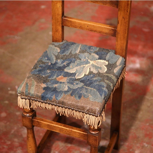 Fruitwood 18th Century French Walnut Baby Chair with Aubusson Tapestry For Sale - Image 7 of 9