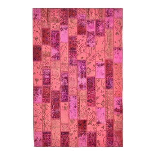 "Turkish Over-Dyed Distressed Pink Patchwork Rug - 6'1"" X 7'11"""
