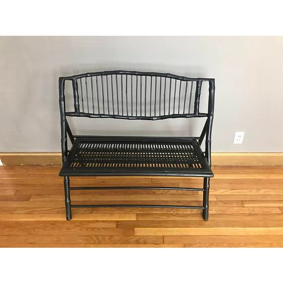 Chinoiserie Vintage Black Bamboo Foldable Bench For Sale - Image 3 of 7