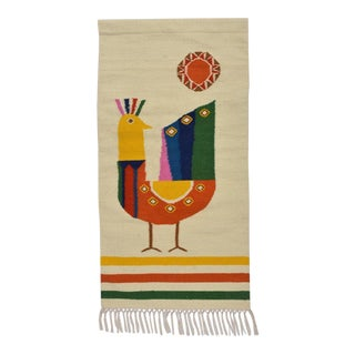 Mid Century Modern Style Wool Bird Tapestry Tassel Wall Hanging