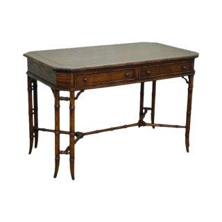 Hekman Faux Bamboo Walnut Desk For Sale
