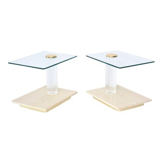 Pair of American Modern Travertine Marble, Lucite and Glass Tables Lion in Frost For Sale