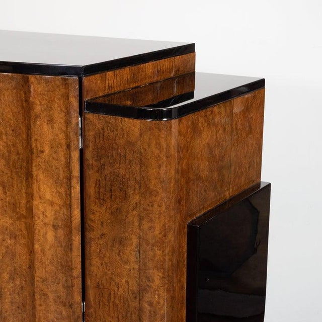 Wood English Art Deco Streamlined Black Lacquer and Burled Carpathian Elm Cabinet For Sale - Image 7 of 10