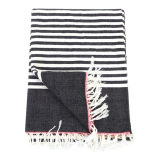 Black & White Moroccan Cotton Stripe Throw Blanket For Sale