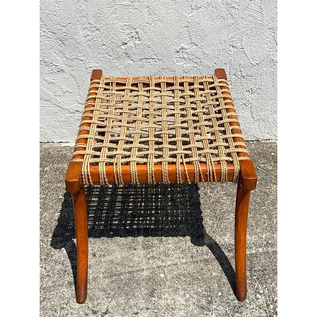 Wood Vintage Klismos Mahogany and Woven Rope Bench, in the Manner of Robsjohn-Gibbons For Sale - Image 7 of 11