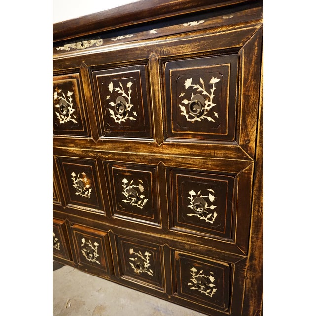 Antique Chinese Elm Wood Apothecary Cabinet - Image 4 of 5