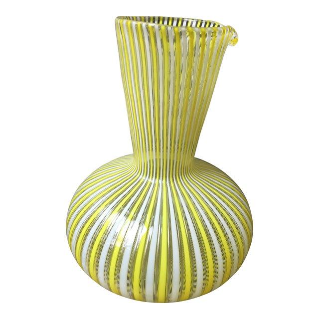 1970s Hollywood Regency Citron Fratelli Toso Murano Glass Latticino Filigrana Decanter For Sale