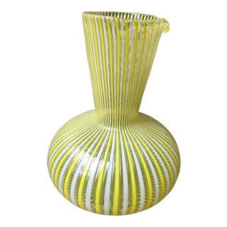 1970s Hollywood Regency Fratelli Toso Murano Glass Latticino Filigrana Decanter