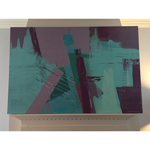 Turquoise Original Bob Rankin Large Abstract Teal and Violet Painting For Sale - Image 8 of 8
