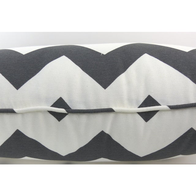 Dark Gray/Off-White Chevron Pattern Custom Pillow - Image 4 of 6